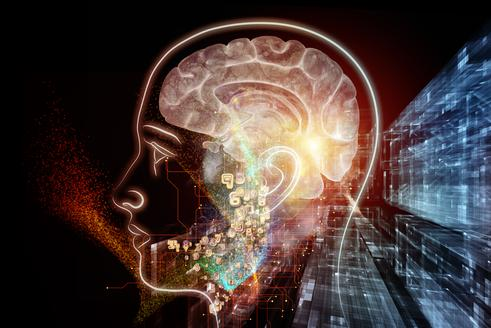 Human Mind series. Background design of brain human outlines and fractal elements on the subject of technology science education and human mind